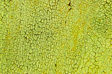 old cracked green, yellow, white painted surface