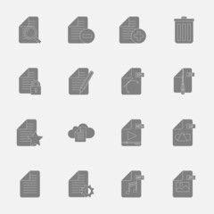 Files and documents silhouettes icons set