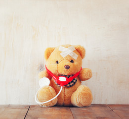 Teddy Bear with Bandage  and  stethoscope