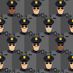 Police officers seamless pattern. police stand guard. Vector bac