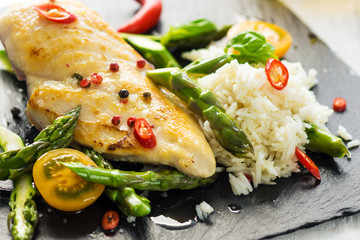 Grilled chicken breast with vegetables delicious