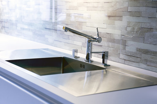 close-up of modern kitchen sink