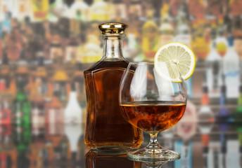 Whisky in glasses on bar