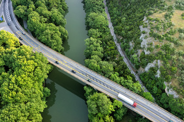 Aerial view of the bridge and the road over the river Pinios in