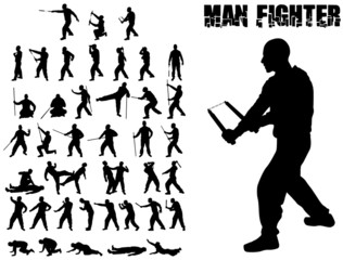 SILHOUETTE COMBAT MAN AND MARTIAL ARTS WHIT WEAPONS
