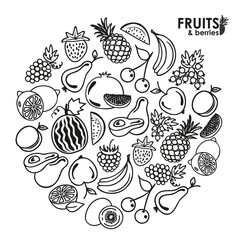 Fruits and berries vector icons