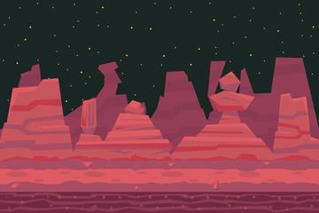 Seamless Night Desert Death Canyon Nature Concept Flat Design