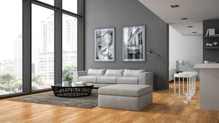 Interior of the modern design  loft with parquet fluur 3D render