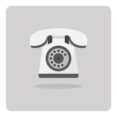Vector of flat icon, old telephone isolated background