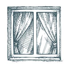 White window. Vector sketch