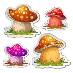 Colored cartoon mushroom