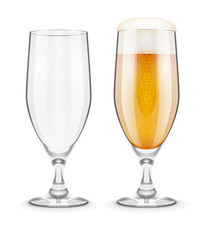 Beer with foam in glass glass goblet for pub drinking. Eps10