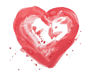 hand drawn colorful red heart art color paint or blood splatter
