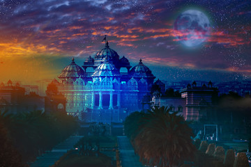 India. Delhi.temple Akshardham by light of full Moon.
