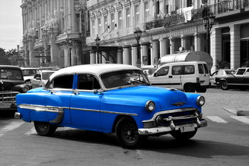 Old blue american car in Havana, Cuba