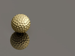 Golden Golf ball on reflective gray background