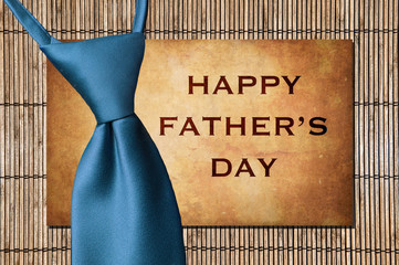 Happy Father's Day - Tie over stone and bamboo