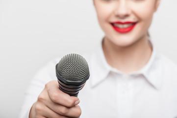 Pretty girl tv journalist is making her report