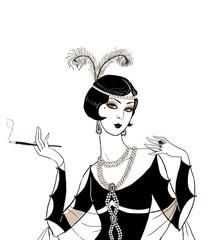 Flapper girl: Retro party invitation design.Art deco women with cigarette .Retro birthday invitation. Great Gatsby style party. Jazz party invitation poster or card design.