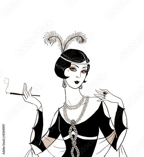 Flapper girl: Retro party invitation design.Art deco women with cigarette .Retro birthday invitation. Great Gatsby style party. Jazz party invitation poster ...