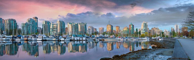 Vancouver BC Skyline at Stanley Park during Sunrise Panorama Wall mural