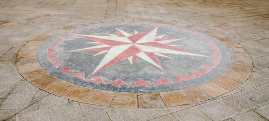 Wind rose situated on seafront of Black Sea