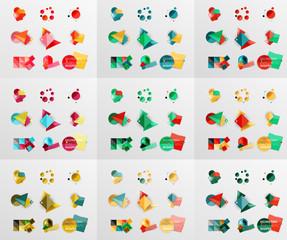 Geometric banners, templates, layouts. Paper graphics Mega