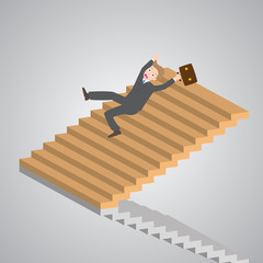 businessman slipping down on the stairs, vector, illustration