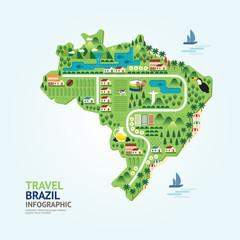 Infographic travel and landmark brazil map shape template design