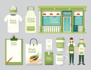 Vector restaurant cafe set shop front design,flyer, menu,package