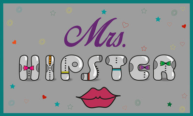 Inscription Mrs. Hipster. Vintage letters