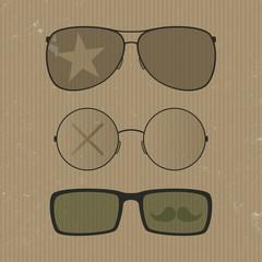Glasses set. Hipster retro style
