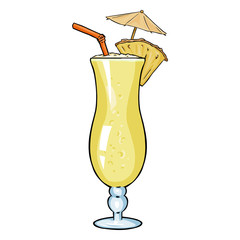 Vector Cartoon Cocktail Pinot Colada