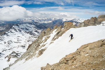 Extreme skiing in scenic alpine landscape