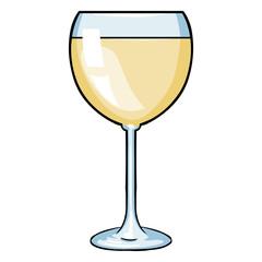 Vector Cartoon Glass of White Wine