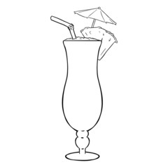 Vector Lineart Cocktail Pinot Colada