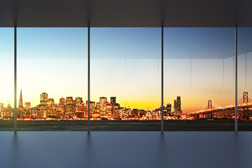 Fototapete - empty office interior at sunset with beautiful view