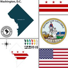 Map of Washington, D.C., USA