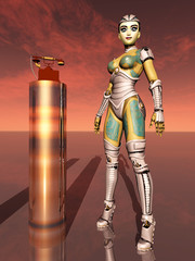 Female robot and telephone