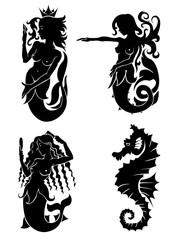 Set of black silhouette on mermaid and sea horse