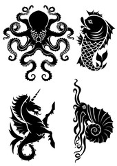 Set of black silhouette on sea heraldry element