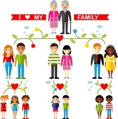 Vector concept of international family tree