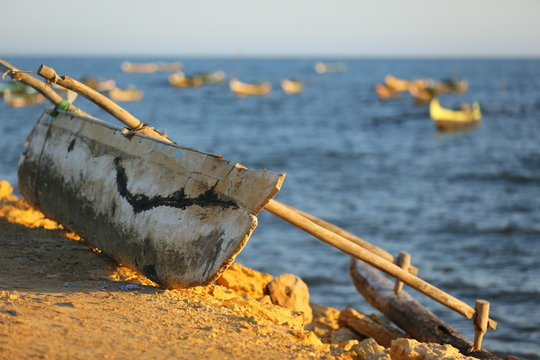 outrigger pirogue in the south of Madagascar