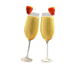 Two champagne glasses with two red strawberry
