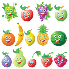 Fruits icons cartoon character set