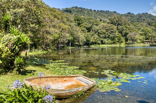 Lake with small boat in Selva Negra, Matagalpa, Nicaragua
