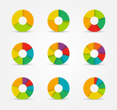 Segmented pie charts set from 3 to 8 divisions.