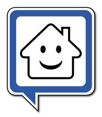 Logo maison et sourire.