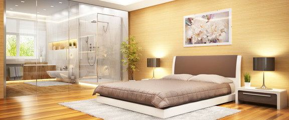 Modern bedroom with bathroom