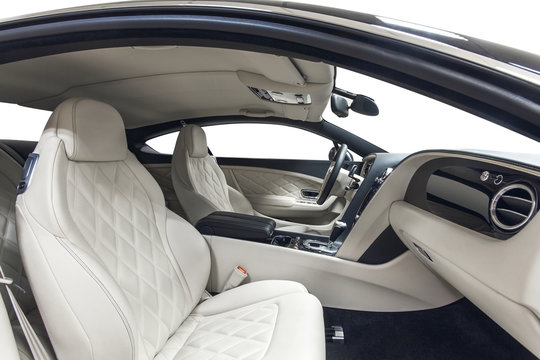 Car interior white and black with nappa leather